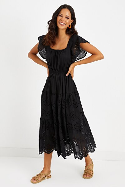 Cool & Sexy Kadın Siyah Fistolu Astarlı Örme Maxi Elbise BK225175