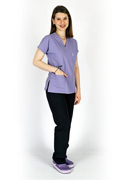 Simirna Üniforma Cerrahi Doktor Hemşire Forması Lila Üst Siyah Alt Takım
