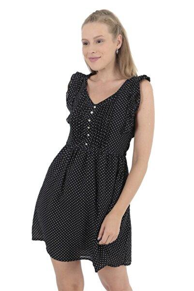Modagusto Kadın Kolları Fırfırlı Puantiyeli Siyah Elbise