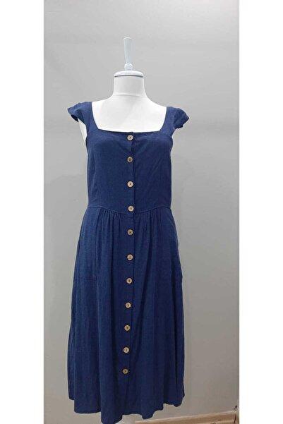 STAMINA Mavi Askılı Keten Elbise