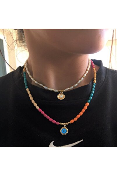 DGN Shoping The Y Jewelry Kadın 2 Li Yeni Sezon Renkli Istiridye Tasarım Kolye