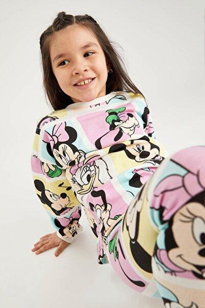 DeFacto Kız Çocuk Ekru Mickey Mouse Lisanslı Crop Sweatshirt