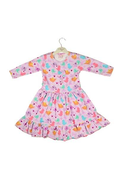 Hidden Kids Kız Çocuk Mor Kuş Desenli Elbise