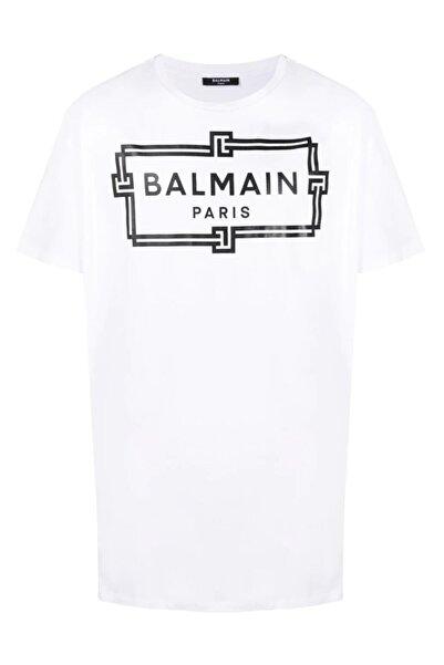 BALMAIN Oversize Logo Print Beyaz T-shirt