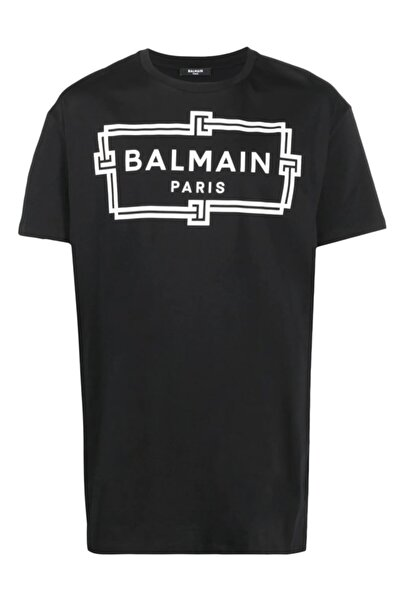 BALMAIN Oversize Logo Print Siyah T-shirt