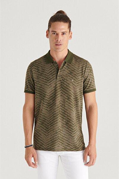 Avva Erkek Haki Polo Yaka Jakarlı Slim Fit T-shirt A11y1200