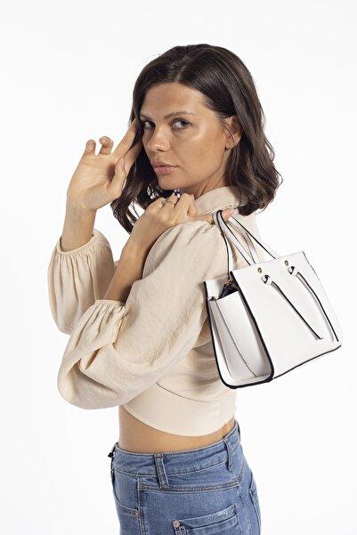Madamra Beyaz Kadın Kutu Mini Çok Gözlü Çapraz Çanta Omuz Çantası Ve El Çantası
