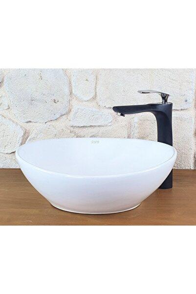 Pure Concept Tezgah Üstü Beyaz Çanak Lavabo 41cm, Oval Tasarım, Dekoratif