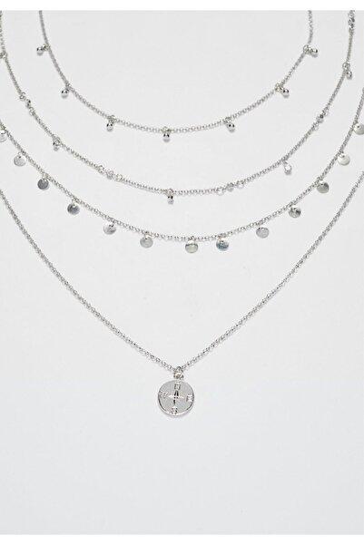Stradivarius Kadın Gri 4'Lü Str Madalyon Uçlu Ve Kristal Kolye Seti 03108004