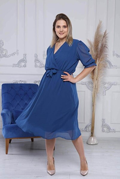 Neşeli Butik Kadın Kruvaze Yaka Midi Boy Büyük Beden Şifon Elbise Nb8062