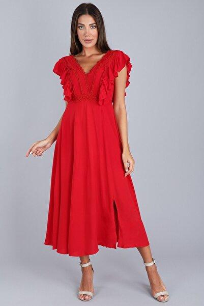 Arlin Kadın V Yaka Önü Dantel Kısa Kollu Yırtmaçlı Uzun Kırmızı Elbise