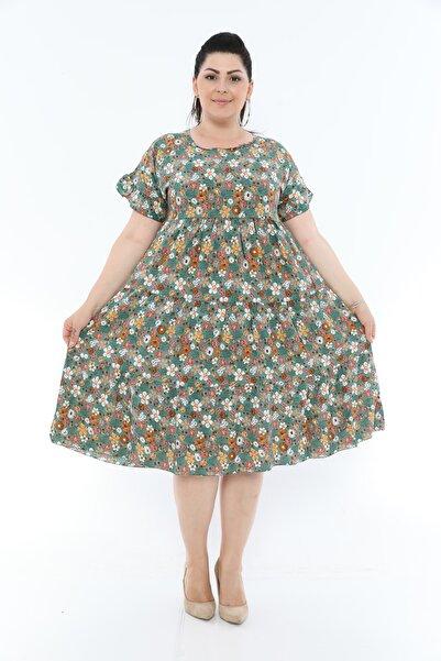 nisaNCa Büyük Beden Midi Çiçekli Yazlık Kadın Elbise
