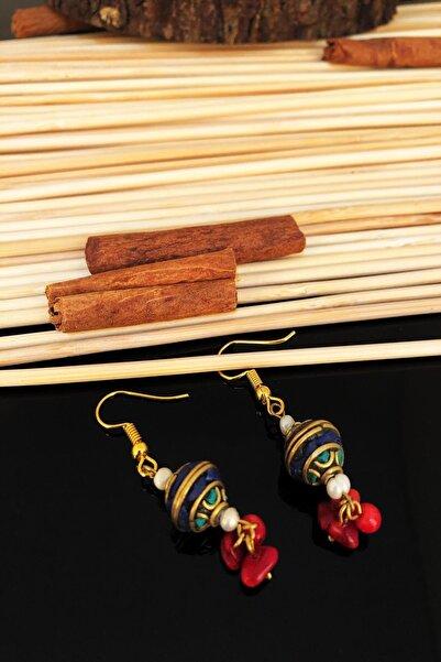 Dr. Stone Dr Stone Doğaltaş el yapımı inci , mercan ve lapis lazuli taşı  nepal kadın Küpe KTDR42