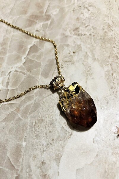Dr. Stone Dr stone doğaltaş  sitrin taşı altın kaplama el yapımı Kadın Kolye TKRB74