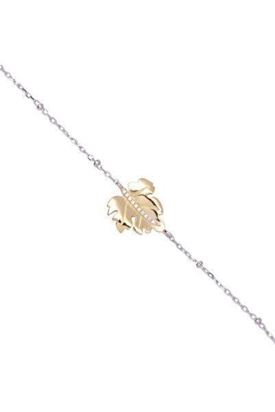 So CHIC... Yaprak Figürlü 18 Ayar Beyaz Altın Kaplama Gümüş Bileklik