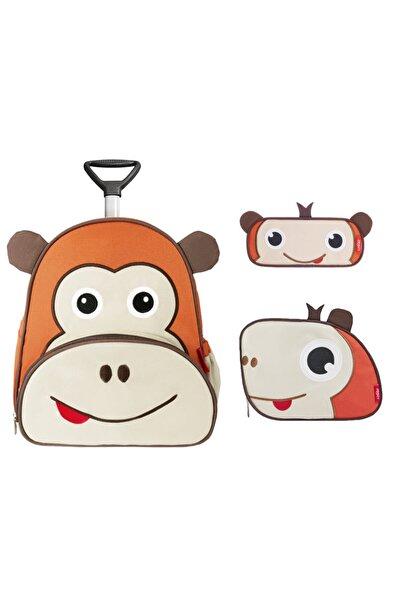 ZOOZY Maymun Çekçekli Çanta Seti (çekçekli Sırt Çanta-beslenme Çantası-kalemlik)