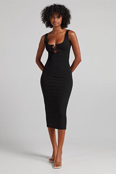 Bershka Yakası Halkalı Streç Midi Elbise