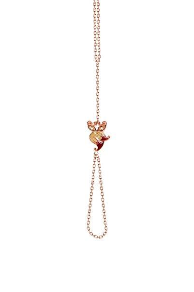 So CHIC... Baykuş Figürlü 18 Ayar Rose Altın Kaplama Gümüş Şahmeran