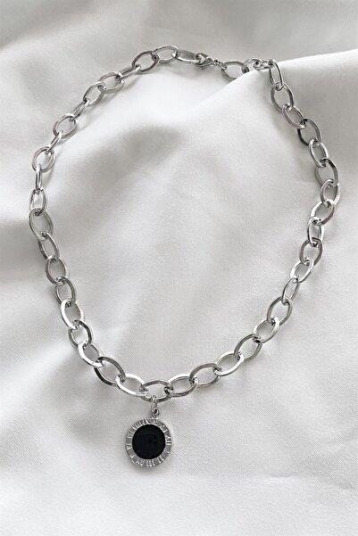 TAKIŞTIR Gümüş Renk Siyah Yuvarlak Figürlü Zincir Kolye