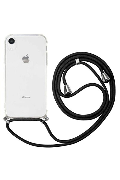 Tria Iphone X Ve Xs Uyumlu Boyundan Askılı Şeffaf Darbe Emici Silikon Telefon Kılıfı Siyah Ipli