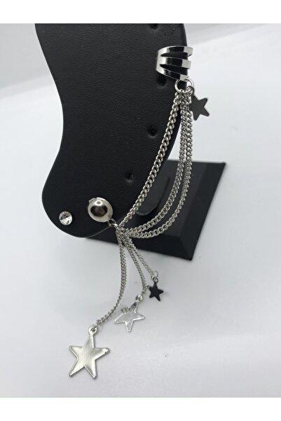 Gece Bijuteri Rodyum 3 Zincirli Yıldız Figürlü Kıkırdak Set Küpe