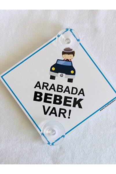 BUTİKPLAKA Dikkat Arabada Bebek Var/ikaz Levhası/ Arabalı Erkek Çocuk