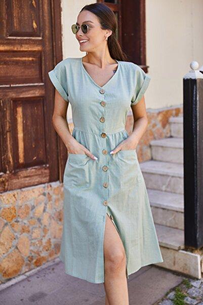 armonika Kadın Yeşil Cepli Önü Düğmeli Elbise ARM-18Y001138