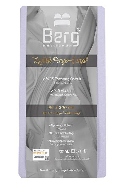 Berg Bettlaken 90x200 35 cm Yükseklik Lastikli Lüks Penye Pamuklu Çarşaf Lila  Luxury Fitted Sheet Cotton