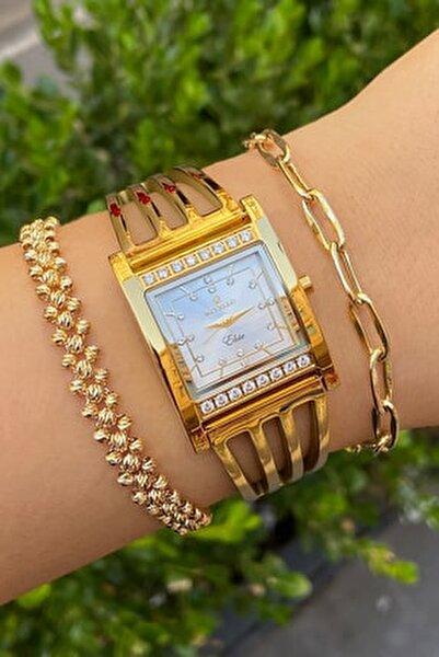 Altın Kaplama Bayan Kaburga Saat İnce 2 Yıl Garantili