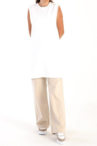 ALLDAY Beyaz Yaka Biyeli Kolsuz Tunik