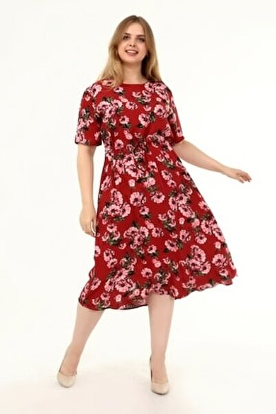 Pamuklu Dokuma Viskon Büyük Beden Beli Ayarlamalı Elbise