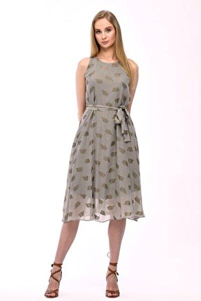 Haki Kolsuz Kuşaklı Astarlı Pamuklu Kumaş Elbise Je545319