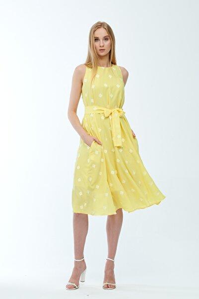 JEANNE DARC Sarı Desenli Kuşaklı Astarlı Yakma Vual Elbise Je545318