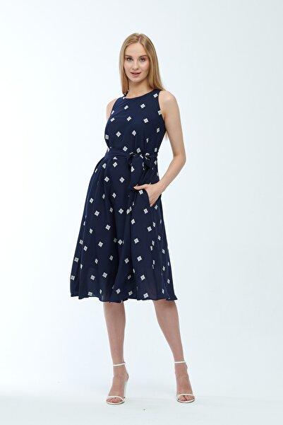 JEANNE DARC Lacivert Desenli Kuşaklı Astarlı Yakma Vual Elbise Je545318