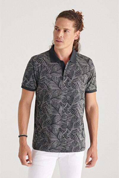 Avva Erkek Siyah Polo Yaka Jakarlı Slim Fit T-shirt A11y1206