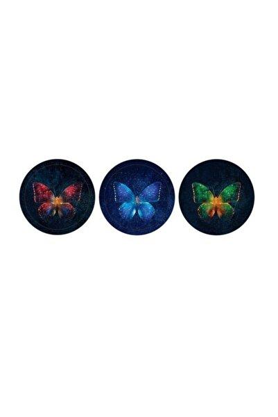 KESKİN COLOR K-gift 3 Lü (buzdolabı Süsü) Cam Magnet Kelebek