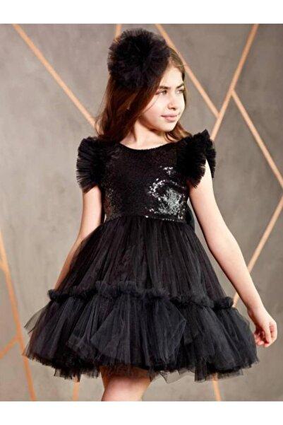 Riccotarz Kız Çocuk Volo Tütülü Siyah Abiye