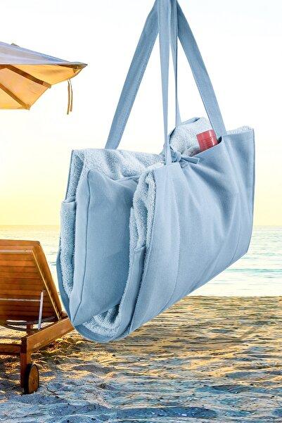 Louis Marie Plaj - Şezlong Havlu Yastıklı Çok Amaçlı Çanta Yastık Takımı Mavi