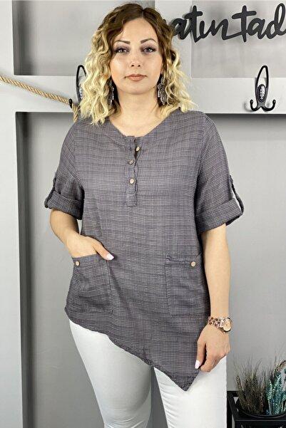 Chicbag Kadın Antrasit Asimetrik Çift Cepli Bluz