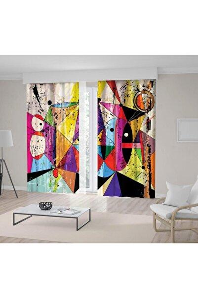 Henge Home Baskılı Fon Perde Yağlı Boya Etkili Renkli Geometrik Desenli