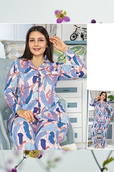 Massimo Love Kadın Düğmeli Battal Pijama Takım