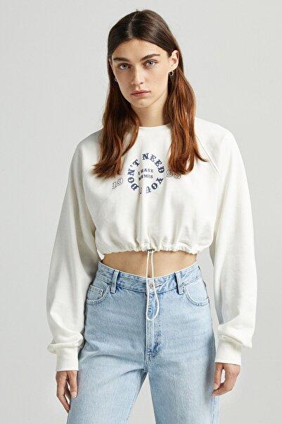 Bershka Stoperli Desenli Crop Sweatshirt