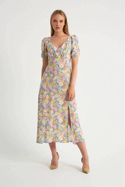 Robin Çiçek Desenli Yırtmaçlı Elbise Ekru