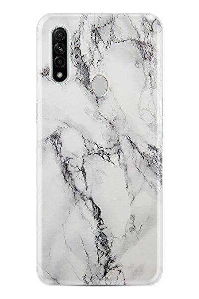Oppo A31 Kılıf Silikon Resimli Fragile White Marble Mermer -st1103