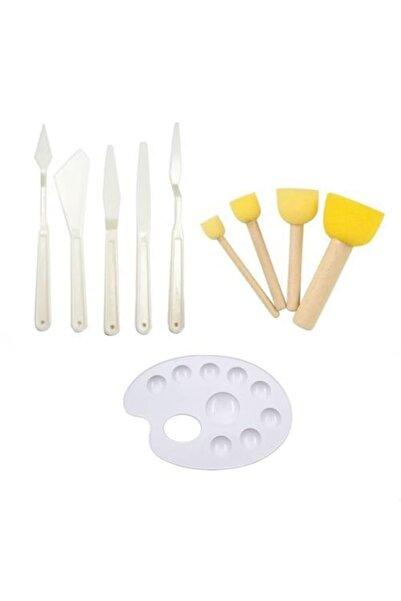 Hobialem 3 Lü Set, Plastik Spatula, Pon Pon Fırça Ve Palet, Yardımcı Set, Hobi Çalışmaları, Akrilik Boya