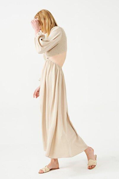 Muun Victoria Taş Rengi Cut-out Maxi Elbise