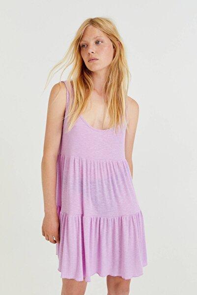 Pull & Bear Kısa Askılı Blok Tasarımlı Elbise