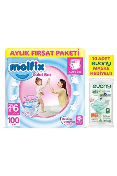 Molfix Külot Bez 6 Beden Ekstra Large Aylık Fırsat Paketi 100 Adet + Evony Maske 10'lu Hediyeli