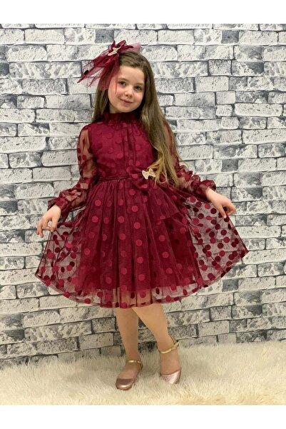 Mnk Kız Çocuk Bordo Dantel Tül Puantiyeli Elbise