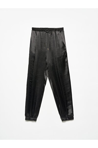Dilvin 4820 Deri Bağcıklı Pantolon Siyah